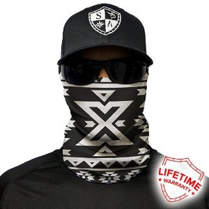 Bandana Balaclava Face Shield Aztec Black And White