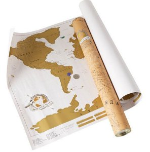 Mapa Mundi De Viagens Raspadinha Yellow Retro
