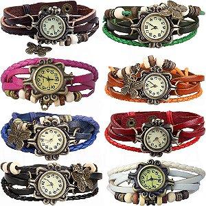 10x Relógio Pulseira Couro Pingente Borboleta Cores Variadas - Variado