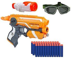 Arma Nerf + Óculos + Scope + Pulseira + 30 Dardos Brinquedo