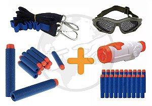 Kit 30 Dardos Nerf Brinquedo + Bandoleira + Óculos + Scope
