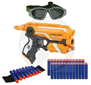Arma Nerf + Pulseira + Óculos + 30 Dardos Bala De Brinquedo