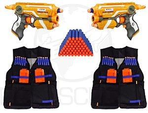 Kit Lançador Nerf Com 2 Fire Strike + 2 Coletes + 100 Dardos