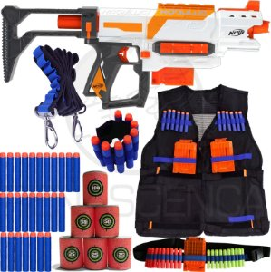 Kit Lançador Nerf Modulus Mk11 + Colete + Acessórios + 60 Dardos Brinquedo