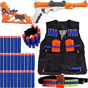 Kit Lançador Sharpfire Nerf + Colete + Cinto + Pulseira + 40 Dardos Brinquedo