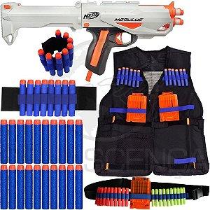 Kit Lançador Nerf Barrelstrike + Colete + Acessórios + 40 Dardos Brinquedo