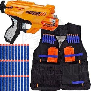 Lançador Nerf Quadrant + Colete Infantil + 30 Dardos Brinquedo