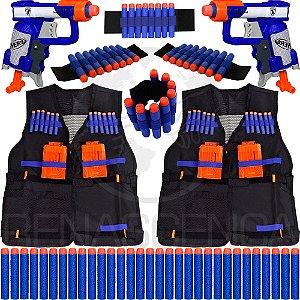 Kit Família 2 Lançadores Jolt Nerf + 2 Coletes + 4 Pulseiras + 60 Dardos de Brinquedo