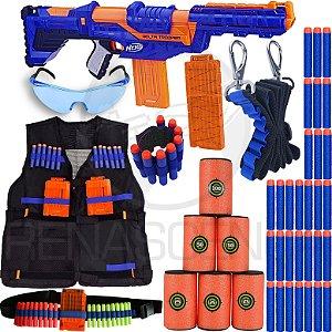 Super Kit Lançador Nerf Delta Trooper + Colete + Acessórios + 80 Dardos Brinquedo