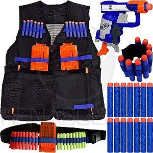 Kit Lançador Jolt Nerf + Colete Infantil + Cinto + Pulseira + 30 Dardos Brinquedo