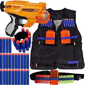 Kit Lançador Nerf Quadrant + Colete Infantil + Cinto + Pulseira + 40 Dardos
