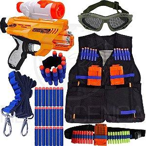 Super Kit Lançador Nerf Quadrant + Colete + Óculos + Acessórios + 60 Dardos