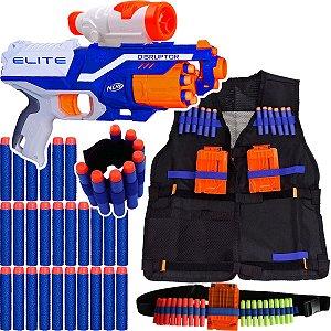 Kit Arma Nerf Disruptor + Colete + Scope + Pulseira + Cinto + 60 Dardos Brinquedo