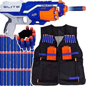 Arma Nerf Disruptor + Colete Infantil + Pulseira + 30 Dardos de Brinquedo