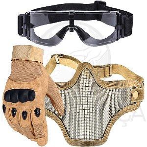 Kit Luva Tática Dedo Completo + Máscara Telada Airsoft + Óculos X800 Paintball - Bege