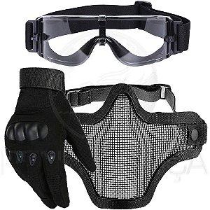Kit Luva Tática Dedo Completo + Máscara Telada Airsoft + Óculos X800 Paintball - Preto