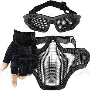 Kit Airsoft Luva Tática Slim Meio Dedo + Óculos Telado + Máscara de Tela - Preto