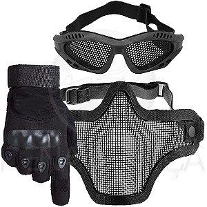 Kit Airsoft Luva Tática Dedo Completo + Máscara de Tela + Óculos Telado - Preto