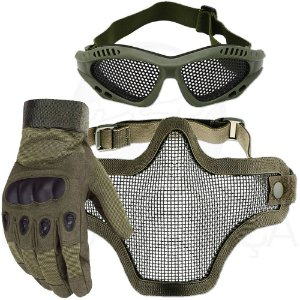 Kit Airsoft Luva Tática Dedo Completo + Máscara de Tela + Óculos Telado - Verde