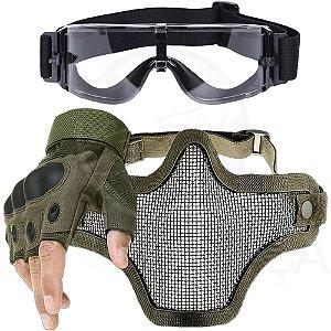 Kit Luva Tática Meio Dedo Airsoft + Óculos X800 + Máscara Telada - Verde
