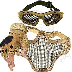 Kit Airsoft Luva Tática Microfibra Meio Dedo + Máscara de Tela + Óculos Telado - Bege