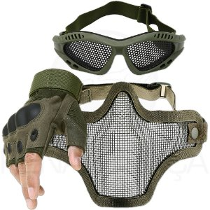 Kit Airsoft Luva Tática Microfibra Meio Dedo + Máscara de Tela + Óculos Telado - Verde