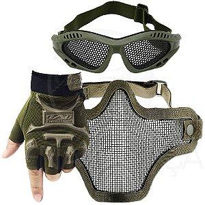 Kit Airsoft Luva Tática Slim Meio Dedo + Óculos Telado + Máscara de Tela - Verde