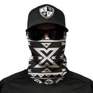 Bandana Balaclava Face Shield Aztec Black And White Caça Moto Pesca Camping