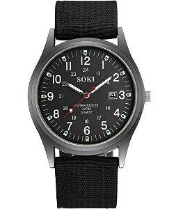 Relógio De Pulso Soki Militar Esportivo - Pulseira Nylon Preto e Fundo Preto
