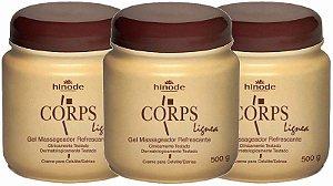 Kit Com 3 Gel Corps Lignea Massageador Redutor de Medidas 500g Hinode