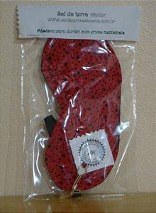 Máscara para dormir com Ervas Relaxantes (Vermelha com bolinhas pretas)