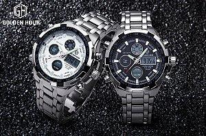 Relógio GoldenHour - Preço de Unidade - Display Duplo