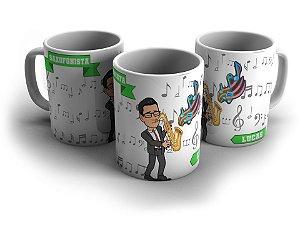 Caneca Personalizada - Saxofonista - com nome