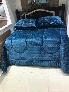 Edredon Casal  Microfibra Premium Sofisticata Azul Denin