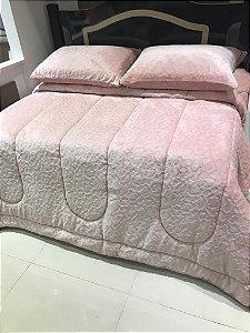 Edredon Casal Microfibra Premium Sofisticata Veludo Rosa
