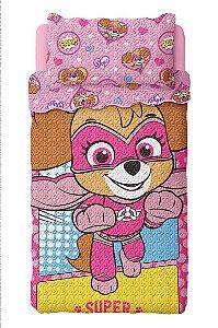 Kit Colcha Bouti Patrulha Canina Rosa Lepper c/ porta travesseiro