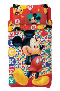 Kit Colcha Bouti Mickey Lepper c/ porta travesseiro