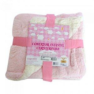 Cobertor Infantil Carneirinho Rosa Jolitex com Sherpa