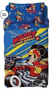 Kit Colcha Bouti Mickey Sobre Rodas  Lepper c/ porta trav