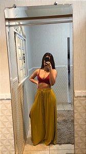 Pantalona Fenda Frontal Mostarda