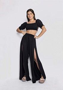 Pantalona Fenda Frontal Preto