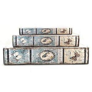 Caixa Livro Pássaros Gaiola Azul 3 peças 33x22x7cm