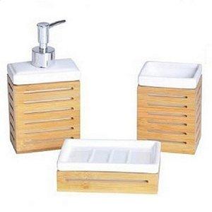 Kit Banheiro Cerâmica Bambu
