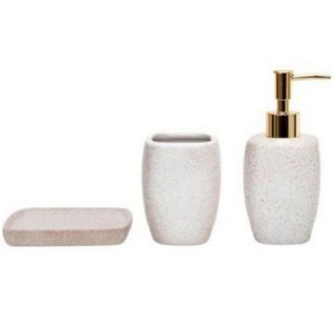 Kit 3 Peças Banheiro Branco Dourado