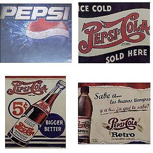4 Quadros Cartão MDF Pepsi-Cola Retro