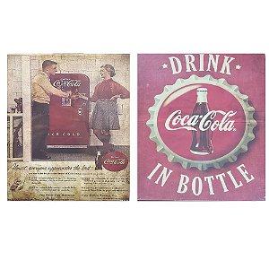2 Quadros Cartão MDF Coca-Cola Vintage