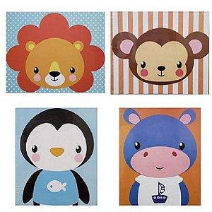 4 Quadros Cartão MDF Baby Animal