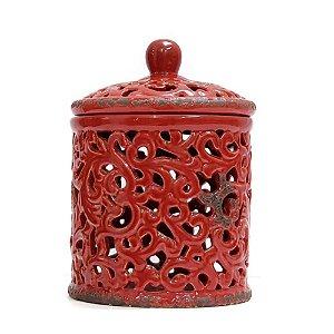 Pote Vaso Cerâmica Vermelho Vazado P