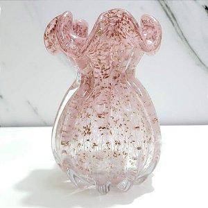 Vaso Decorativo Rosa com Dourado
