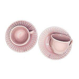 Conjunto 6 Pares Xícara Chá Rosa